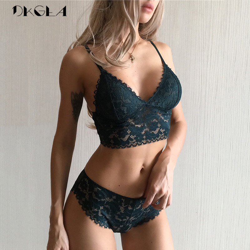 2019 Ultrathin   Bra     Set   Plus Size XL L Brassiere Wire Free Vest   Bras   Women Lingerie   Set   Embroidery Green Lace Underwear   Sets   Sexy