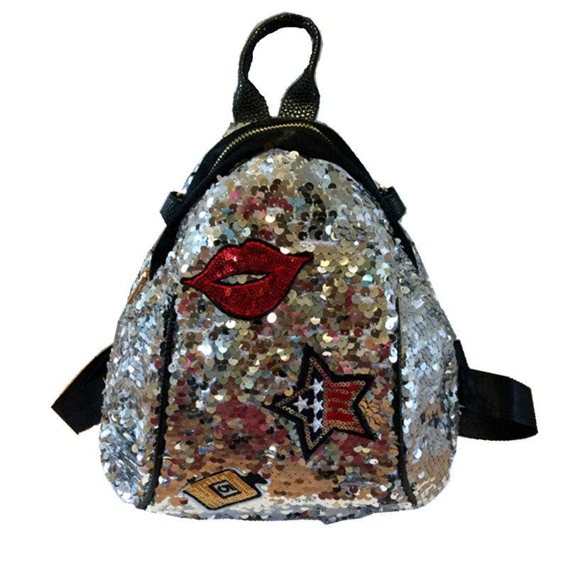 2019 Sequined Backpacks Teenager Girls PU Lips Bling Backpack Glitter Girls Travel Shoulder Bags School Bag Women backpacks 965 6
