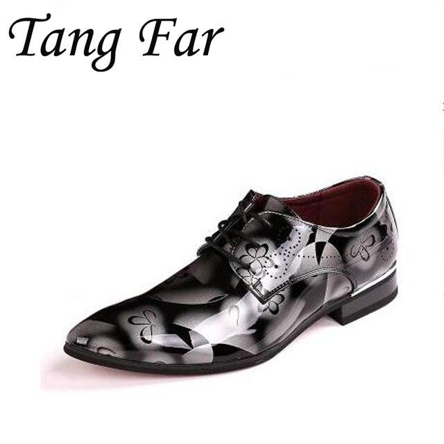 Men Shoes Patent Leather Pointed Toe Oxfords Shoes Men Designer Shoes Casual Breathable Big Size 48 47  45 Mens Dress Shoes
