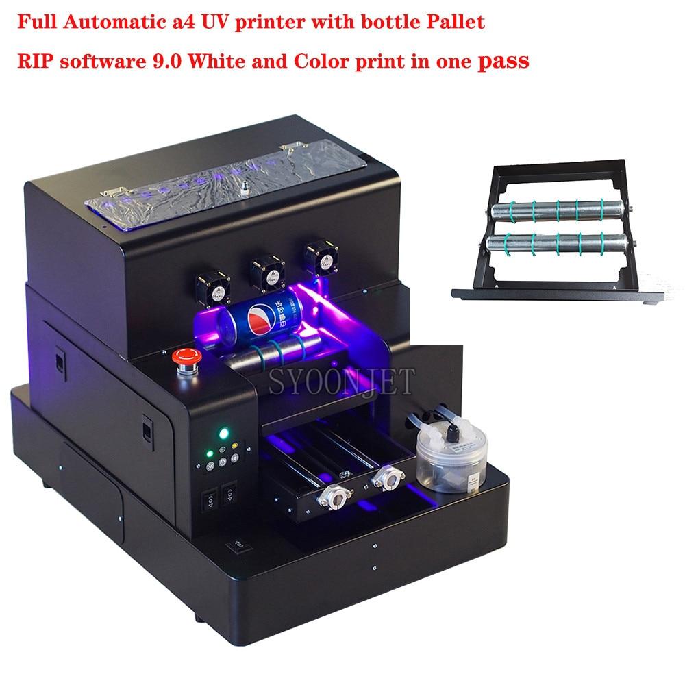 Fabbrica Automatica A4 UV Led Stampante con supporto della bottiglia Per La cassa del telefono di legno Cilindro di vetro di stampa con RIP software 9.0