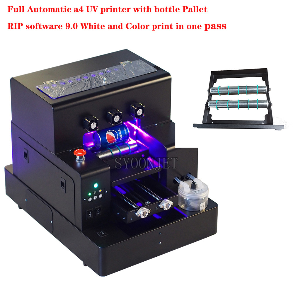 Factory Automatic A4 UV Led Printer With Bottle Holder For Phone Case Cylinder Wood Glass Printing With RIP 9.0 Software
