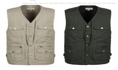 Brand New Men Multi-pocket Photography Vest Middle-Aged Waistcoat  Plus Size XL-4XL