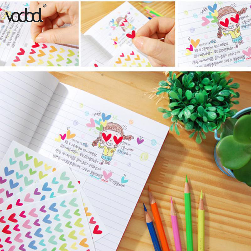 6 Sheet Colorful DIY Photo Album Sticker Love Heart Star Round Circle Rainbow Color Kids Stationery Diary Scrapbook Stickers