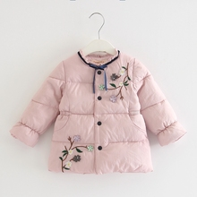 Children Outerwear Winter Warm Baby Girls Coat Infant Baby Parkas Thick Kids Clothes With Flowers Appliques pink green 0-3Y