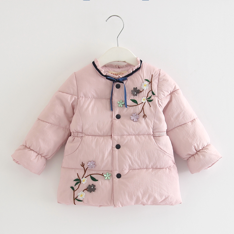 Kinder Oberbekleidung Winter Warme Baby Mädchen Mantel Infant Baby Parkas Dicke Kinder Kleidung Mit Blumen Appliques Rosa Grün 0-3y Chinesische Aromen Besitzen