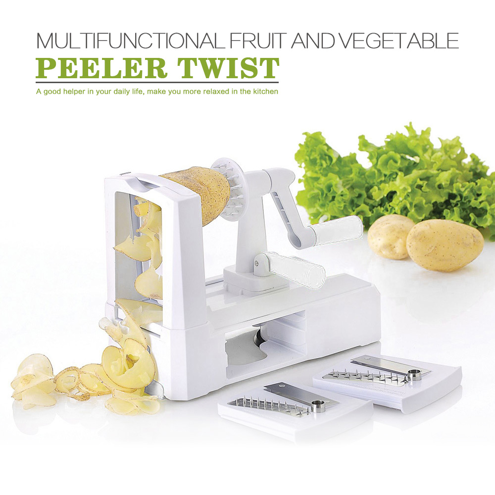Kitchen Tools  Fruit Veggie Chopper Cutter Twister Peeler 3 in 1 Slicer Julienne Cutter Spiral Vegetable Slicer Spiralizer