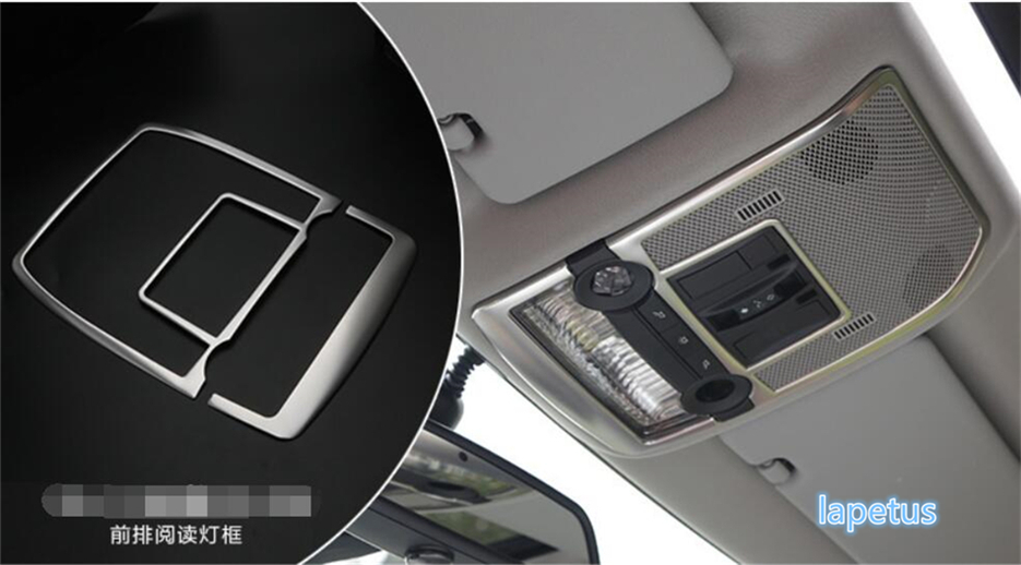 цена на For BMW X5 E70 2009 - 2013 / X6 E71 2010 - 2014 Stainless Steel Roof Reading Light Lamp Decoration Molding Garnish Cover Trim