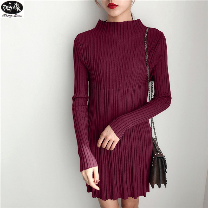 2018 Spring New Womens A-type Pullover Macaron Stitching Sweater Long-sleeved Sweater Dress Long Sweater WL31