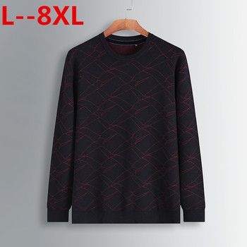 8XL 6XL 5X New Autumn Fashion Brand Casual Sweater O-Neck Striped Slim Fit Knitting Mens Sweaters And Pullovers Men Pullover Men