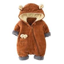 2018 nuevo otoño invierno Bebé gruesa caliente Rompers ropa recién nacido  bebés Girs mono con capucha Niño niños abrigo G235 d6b3fab82f8d