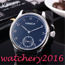 Casual Corgeut 44mm black dial stainless steel 17 jewels 6498 hand winding movement Men's Watch