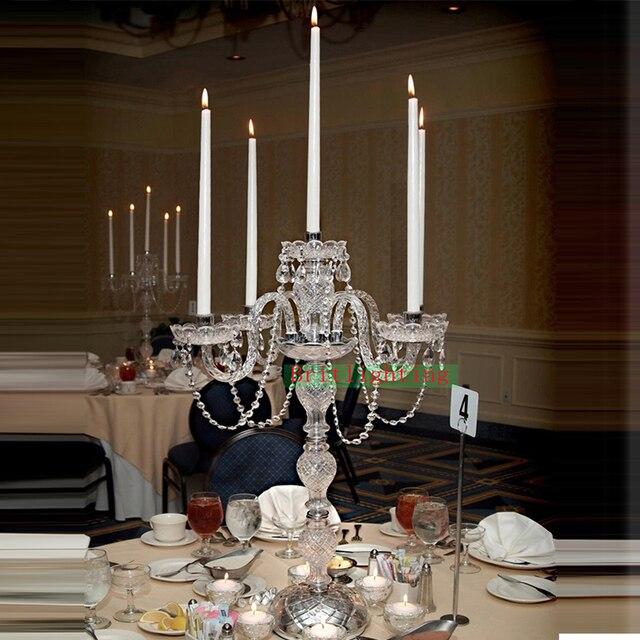 Wedding Candelabra Electric Candelabrum Candle Candelabra Table Lamp  Wedding Decoration Silver Candelabra Crystal Table Light