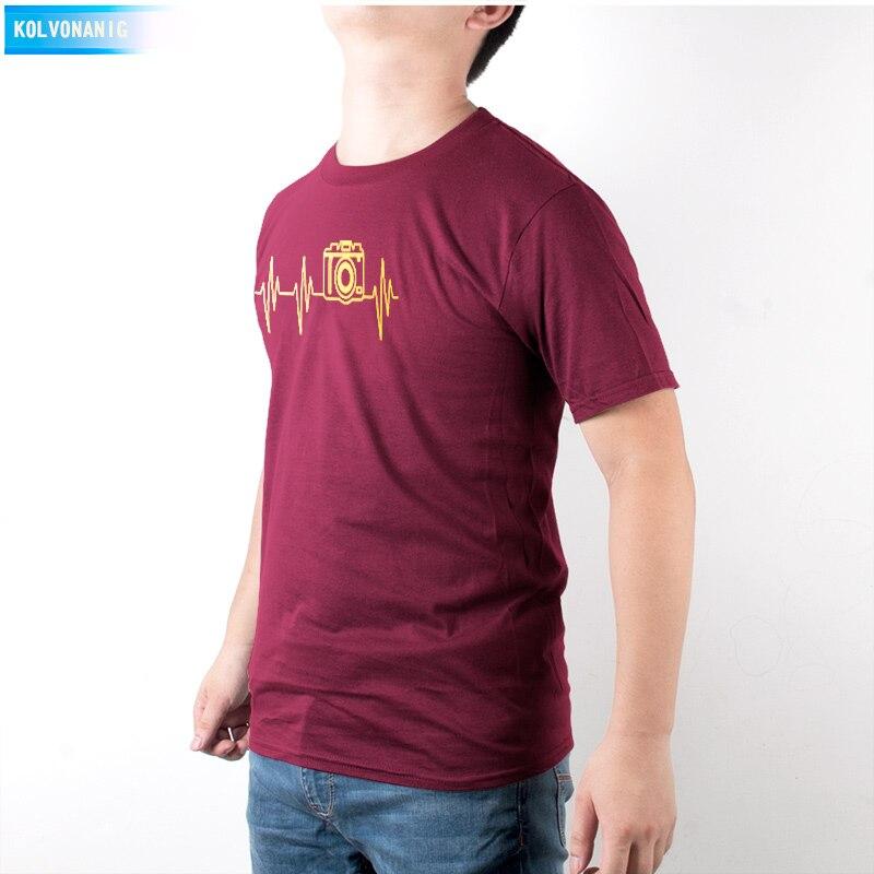 KOLVONANIG Mens T Shirts Fashion Photographer Heartbeat Photo Funny T Shirt Cotton Short Sleeve O Neck T Shirts Summer Tshirts in T Shirts from Men 39 s Clothing