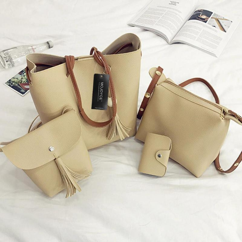 4pcs/Set Fashion Women Composite Bag Tassel Pure PU Shoulder Bag Clutch Card Bag Handbag Girls Shopping Bag Large Tote fashion girls pet hand bag brooch set