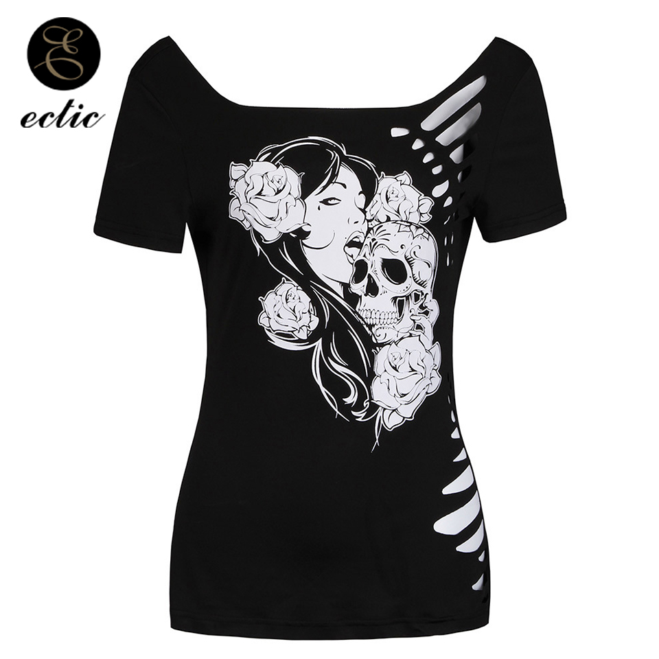 Harajuku Hollow Streetwear T Shirt With Skull Clothing Vetement Femme 2019 Roses Ripped T Shirts Women Gothic Style Goth Top