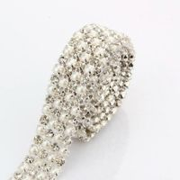sale top fasion wedding invitations decoration 1 yards 4 rows rhinestone faux pearl mesh trim H1631