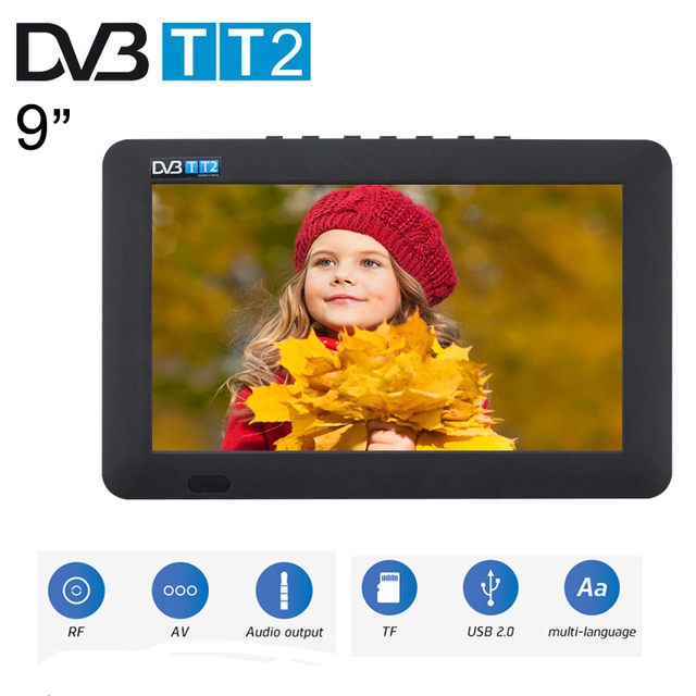 LEADSTAR Portable TV 9 Inch 16:9 TFT DVBT2/DVBT/ISDB Digital Analog LED Television Mini Car TV Support USB Record TV Program