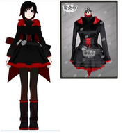 Anime RWBY Red Trailer Ruby Party Uniform Dresses Cloack Cosplay Costume Dress+Corset