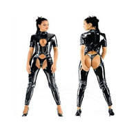 Sexy Erotic Women leather Open Crotch Lingerie wet look leotard Lingerie Sexy Bodysuit open crotch w6079