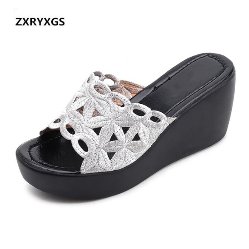 ZXRYXGS Brand Shoes Sandals Women 2019 New Summer Fashion Hollow Wedges Shoes Women Slippers Non-slip Comfort Casual Sandals