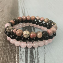 8mm Black Onyx Rhodonite Rose Quartzs Beaded Wrist Men Women Natural Stone bracelet sets Stackable Mala Bracelets(China)