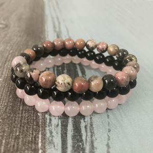 8mm Black Onyx Rhodonite Rose Quartzs Beaded Wrist Men Women Natural Stone bracelet sets Stackable Mala Bracelets(China)