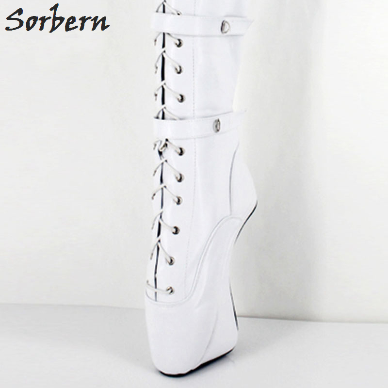 Woman Boots Sexy Extreme 18CM High heel Fashion Lace Up And Zip Hoof Heel Ballet Fetish Over The Knee Thigh High Long Boots jialuowei 7 super high heel hoof heelless ballet boots transparent toe lace up zip buckle straps sexy fetish over knee boots
