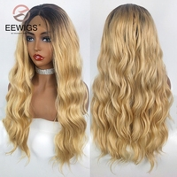 EEWIGS Heat Resistant Long Body Wave Wigs With Short Brown Roots Middle Part Honey Blonde Ombre Synthetic Lace Front Wig Women