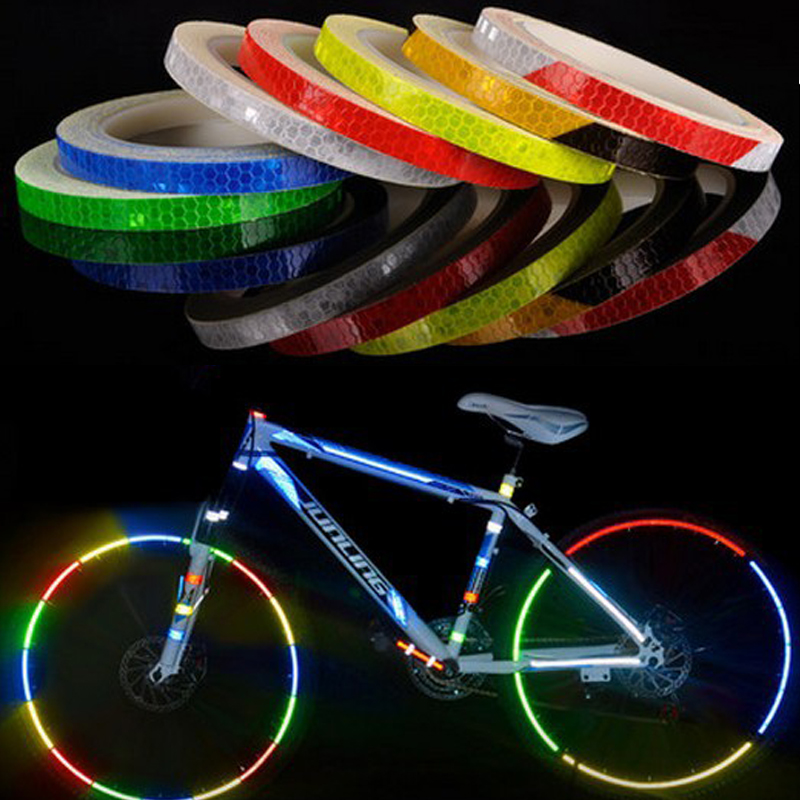Bicycle Reflective Stickers Reflective Warning Lighting Tape Wheel Body Adhesive Bike Decoration Security Protection Material(China)