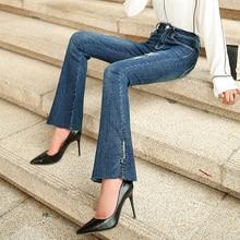 Zogaa azul botón Up Flare Hem Jeans Mujer pantalones vaqueros largos Vintage pantalones Capris 2019 otoño cintura media estiramiento mujeres vaqueros
