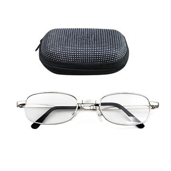 100 150 200 250 300 350 400 stopni obiektyw przenośne składane okulary do czytania Presbyopic okulary powiększające okulary z przypadku tanie i dobre opinie NoEnName_Null WOMEN Unisex Przezroczysty Spolaryzowane YJ1196-01 Szkło STAINLESS STEEL