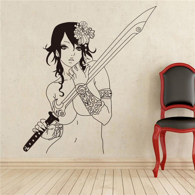Home Decoration Wall Mural Vinyl Sticker Decal Anime Manga Sexy Girl With  Sword Wall Stickers(