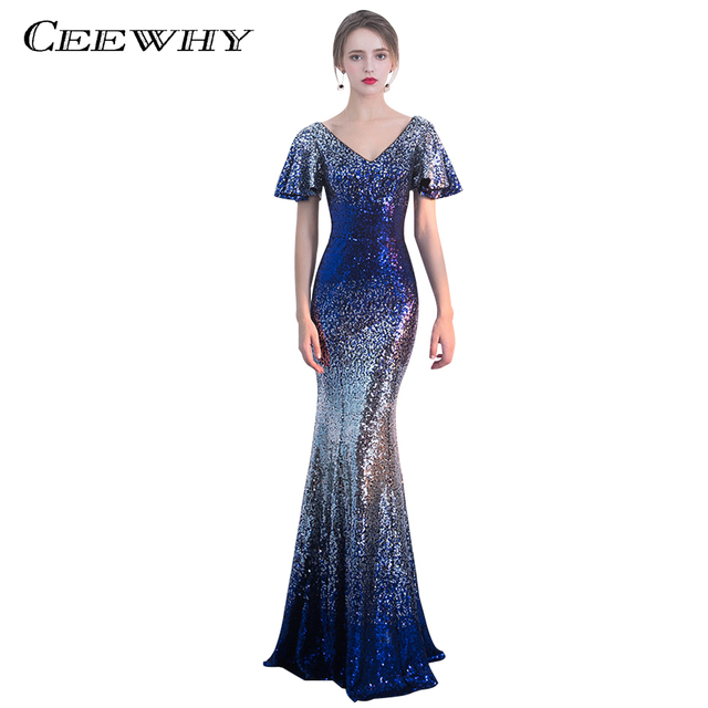 CEEWHY Royal Blue Sequined Muslim Evening Gown Short Sleeves ...