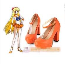 Аниме Сейлор Мун Минако Айно Сейлор Венера Косплэй Обувь orrage Цвет Лолита Сапоги и ботинки высокое качество обычай делать