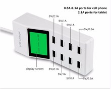 8 USB Ports US EU UK Multi Charger with Lcd Screen Smart Charger For huawei p10 p10 plus xiaomi redmi 4x G6 S8 S8+Cell Phone