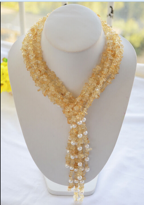 4c65843a959c Envío libre  Z6323 4 filamentos 50 piedra detritus 8mm collar de perlas de agua  dulce nueva
