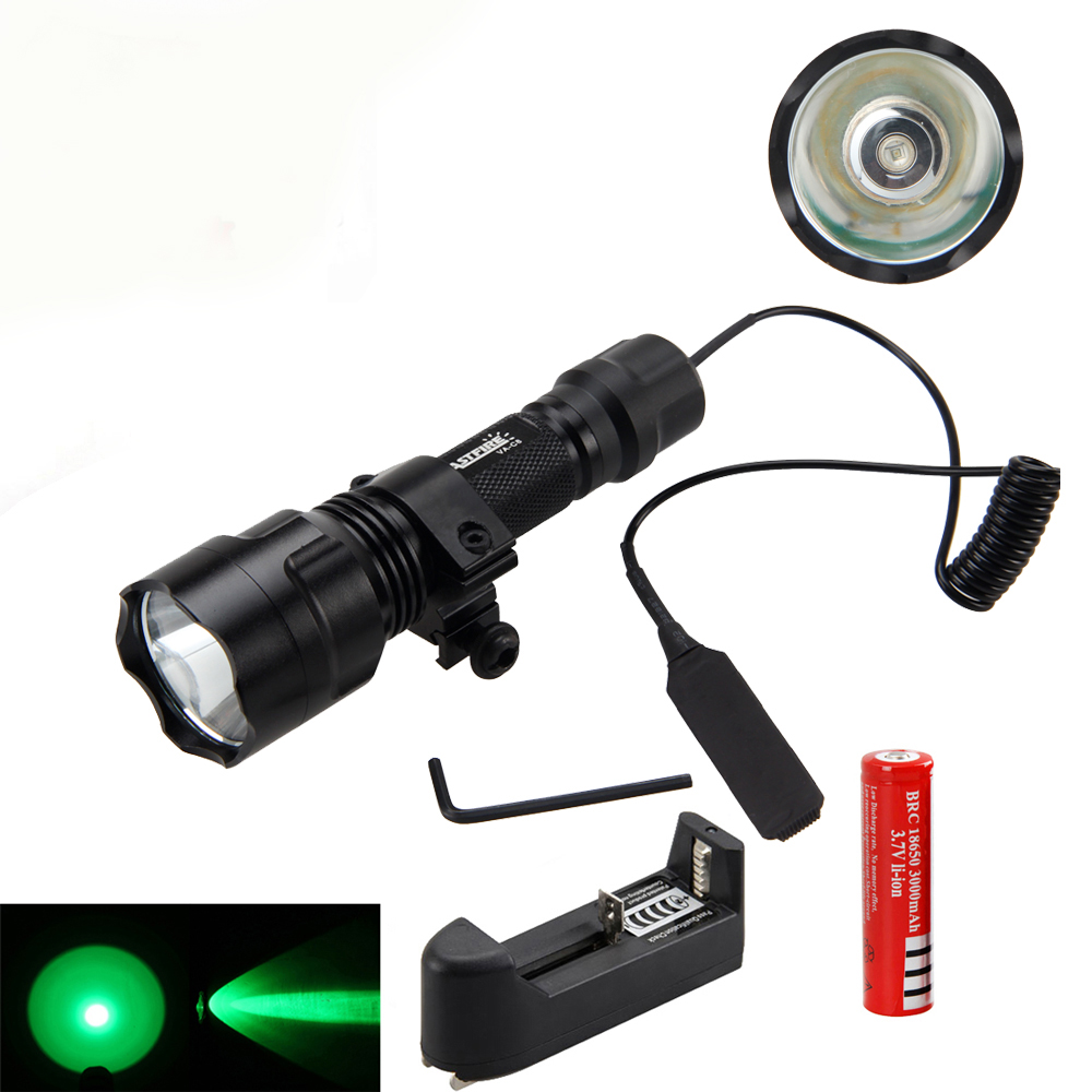 Tactical Light 2500lm XML T6/Q5 LED Torch Hunting Light + Mount +Pressure Switch+18650 Battery+Charger