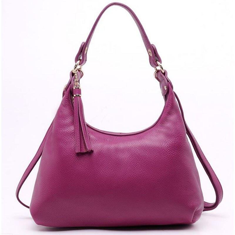 4b8096ef6b61 Новая роскошная кожа коровы Для женщин сумка бренд Модные женские сумки на  плечо Сумочка кисточкой из натуральной кожи Повседневное Tote .