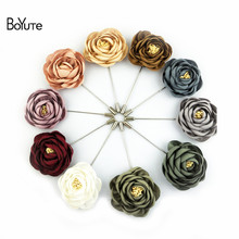 BoYuTe Retail 1 Piece High Quality Fabric Flower Rose Brooch Lapel Pin Men Classic Wedding Boutonniere 17 Solid Colors(China)