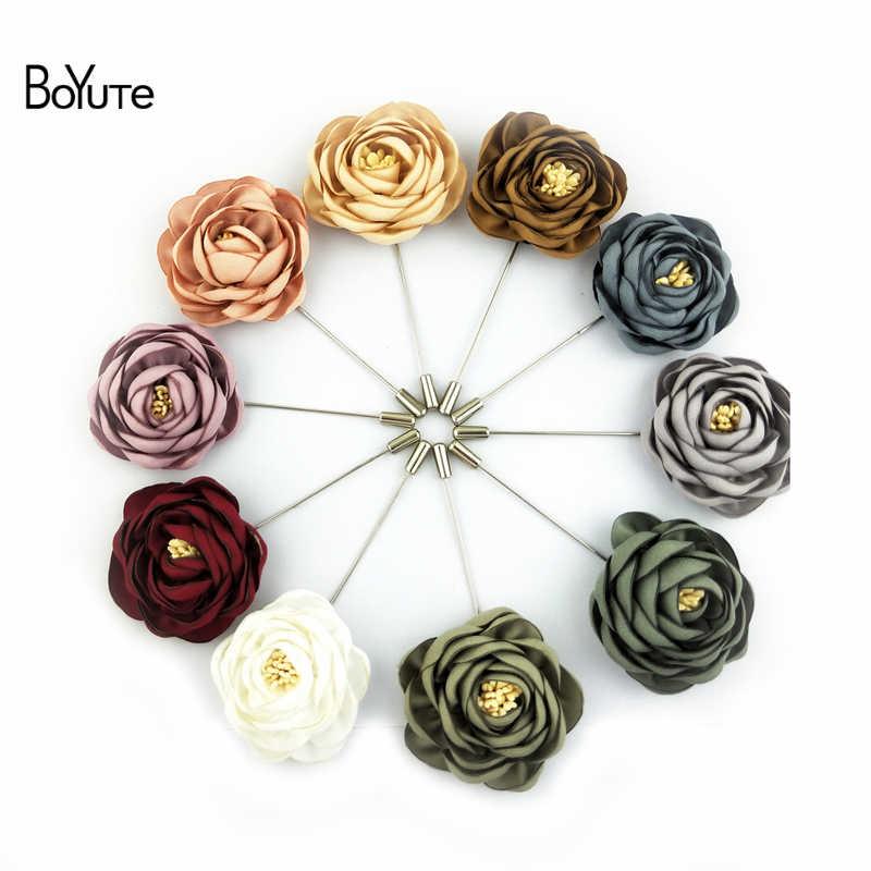 Boyute Retail 1 Potongan Kain Bunga Mawar Bros Kerah Pin Pria Klasik Pernikahan Boutonniere 17 Warna Solid