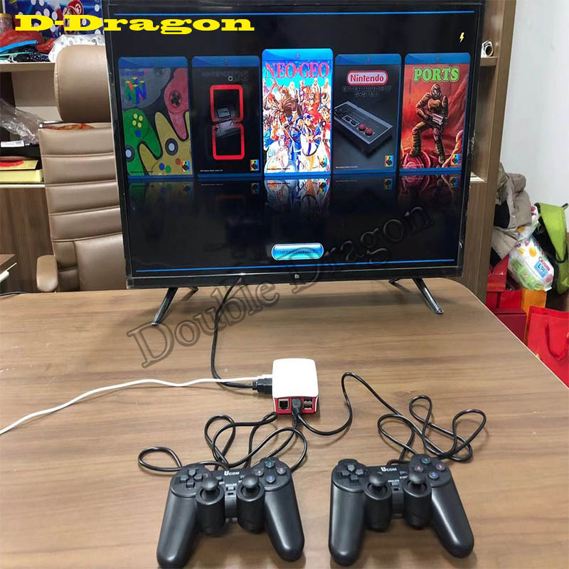 16000 In 1 128GB Quad Core TV Video Game Player Box Accessory For Rraspberry Pi With 2 USB Wired Gamepad Controller Game Console