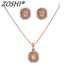 Fashion Women bridal Wedding Jewelry Set Charm Crystal Square Pendant Necklaces Earrings Sets Shininy Cubic Zircon