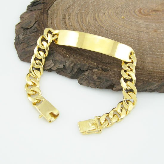 Whole Price 10mm 18k Gold Plated Chain Id Bracelets For Man Fashion Jewelry