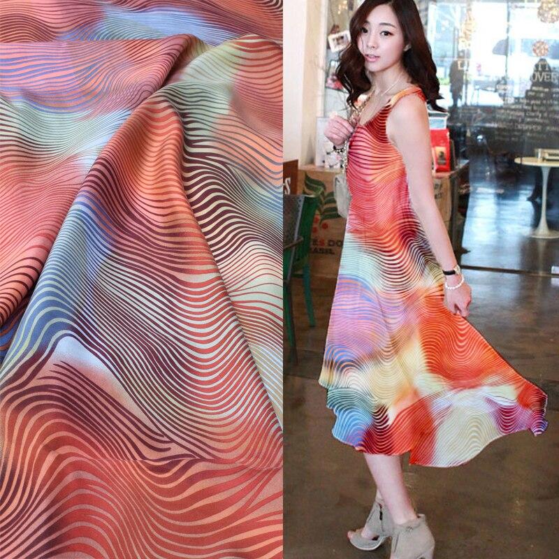 ᗚ100% telas de seda impresa de telas de hilado camisa de vestido ...