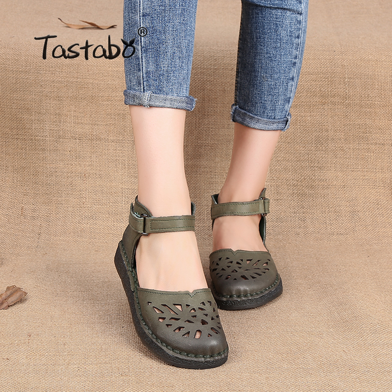 Tastabo 2017 Ballet Summer Cut Out Women Genuine Leather Shoes Woman Flat Flexible Round Toe Nurse Casual Fashion Loafer