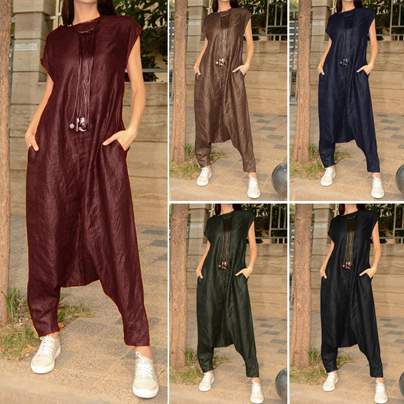 2019 Plus Size ZANZEA Summer Fashion Women Solid Short Sleeve Long Drop Crotch   Jumpsuits   Overalls Pants Female Rompers Femme