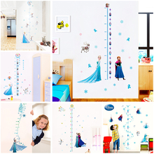cartoon disney princess height measure wall stickers for kids rooms nursery home decor frozen Elsa Anna growth chart wall decals цена