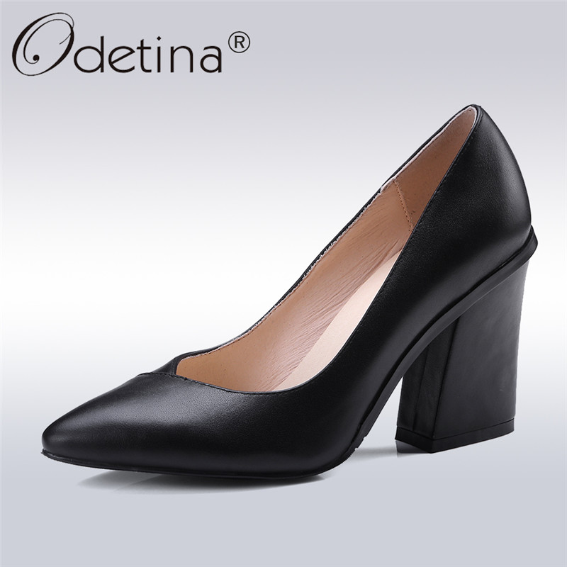 Odetina 2018 New Fashion Women Genuine Leather Shoes Pointed Toe High Heel Officce Ladies Dress Slip On Thick Heels Plus Size 43 nayiduyun women genuine leather wedge high heel pumps platform creepers round toe slip on casual shoes boots wedge sneakers