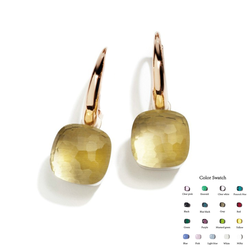 2019 Designer Beliebte Marke Candy Farbe Baumeln Ohrringe Für Frauen Luxus Rose Gold 585 Silber Schmuck Mischen Sie Ihre Eigenen Stil bijoux