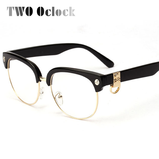 9b49f382471 TWO Oclock Classic Semi-Rimless Skull Eyeglasses Frames Women Men Female  Eye Glasses Spectacle Optical Frame Myopia Oculos 1269